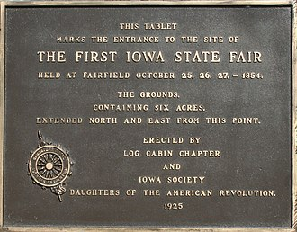 Fairfield, Iowa - First Iowa State Fair Commemorative plaque