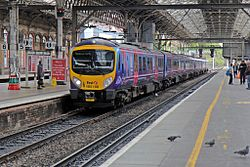 First TransPennine Express, Class 185, 185108, platform 5, Preston railway station (geograph 4499571).jpg