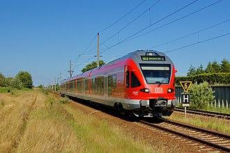 Stralsund–Rostock railway - Deutschen Bahn Stadler FLIRT railcars running as the Hanse-Express