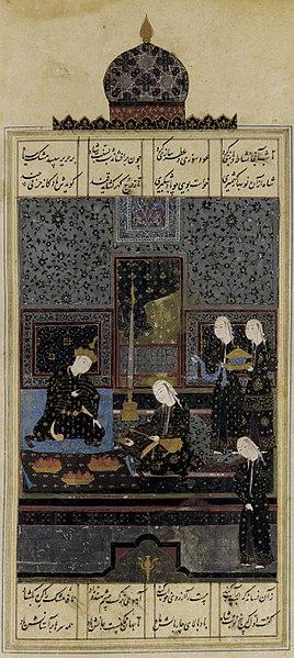 http://upload.wikimedia.org/wikipedia/commons/thumb/4/49/Folio_from_a_Khamsa-c.jpg/268px-Folio_from_a_Khamsa-c.jpg