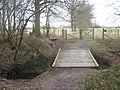 Footbridge and footpath junction near Broxham Manor - geograph.org.uk - 1755446.jpg