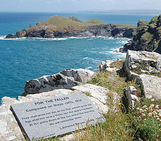 "Ode of Remembrance - ""For The Fallen' plaque with The Rumps promontory beyond"