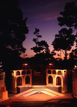 Monterey Peninsula - Sunset over the 1994 Carmel Shakespeare Festival production of ''Julius Caesar'' at Carmel's historic Forest Theater