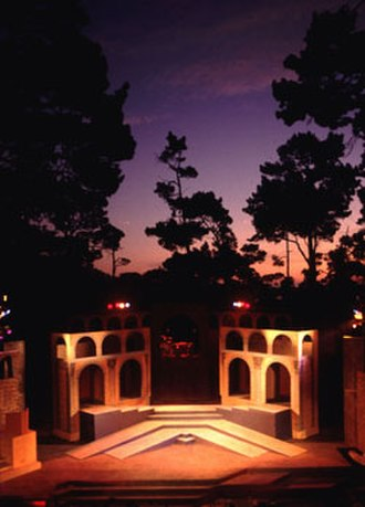 Forest Theater - Sunset over the Forest Theatre during 1997 Carmel Shakespeare Festival production of Julius Caesar
