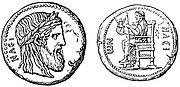 Coin of Elis illustrating the Olympian Zeus (Nordisk familjebok)