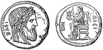 Statue of Zeus at Olympia - Coin from Elis district in southern Greece illustrating the Olympian Zeus statue (Nordisk familjebok)