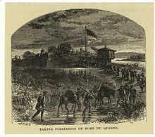 Engraving depicting the British arrival at the remains of Fort Duquesne