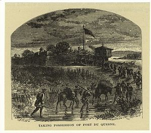 Forbes Expedition - Engraving depicting the British arrival at the remains of Fort Duquesne