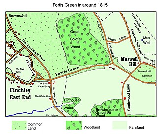 Fortis Green - Fortis Green in 1815 showing the rural nature of the area at the time