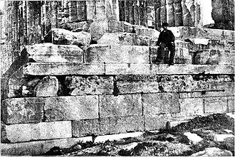Older Parthenon - Image: Foundation of the Older Parthenon, below the platform of the newer Parthenon