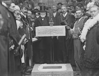 Waterford City Library - Andrew Carnegie laying the foundation stone for the Library in 1903.
