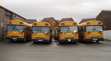 First Student UK school buses located in Wrexham, Wales.