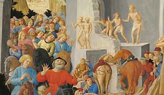 Adoration of the Magi (Fra Angelico and Filippo Lippi) - detail around the arch