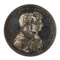 Framsida av medalj med bild av Gustav IV Adolf och Fredika Wilhelmina i profil samt text - Skoklosters slott - 99523.tif