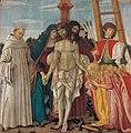 Francesco BotticiniDeposizione di Cristo con la Madonna, Giuseppe d'Arimatea, santa Maria Maddalena, san Bernardo e san Sebastiano. 148x148, 1480-85. Fiesole , Badia Fiesolana.jpg