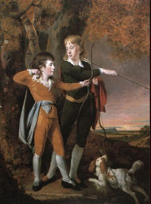 Francis Mundy - Francis with his brother Charles as Archers (by Joseph Wright of Derby