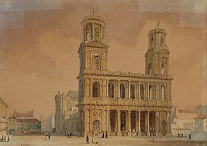 Guillaume-Gabriel Nivers - Church of Saint Sulpice in Paris, where Nivers worked from the 1650s until his death. This west façade, however, was built only in 1732, after the composer's death. Watercolor by François-Étienne Villeret, first half of the 19th century.