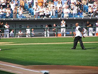 Frank Thomas (designated hitter) - Frank Thomas throws out the ceremonial first pitch of the 2005 ALDS between the White Sox and Red Sox.