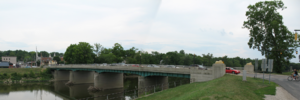 Franklin, Ohio - Franklin's Lion Bridge, spanning the Great Miami River and connecting the sections of Franklin on either side of the river (view east).