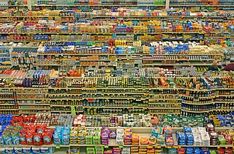 Product differentiation - Aisles in a supermarket. While each item has the same intended purpose, competition has driven each brand to differentiate its own product from the others to encourage consumer preference.