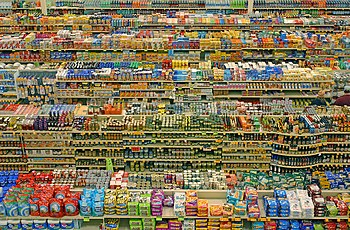 Packaged food aisles of supermarket in Portland, Oregon