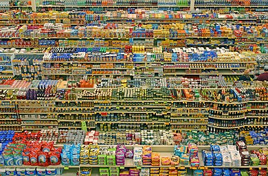 Packaged food aisles of supermarket in Portland, Oregon, United States of America Fredmeyer edit 1.jpg