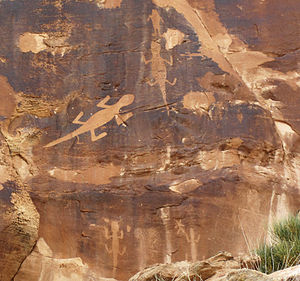 Dinosaur National Monument - Fremont culture llizard petroglyphs, Dinosaur National Monument