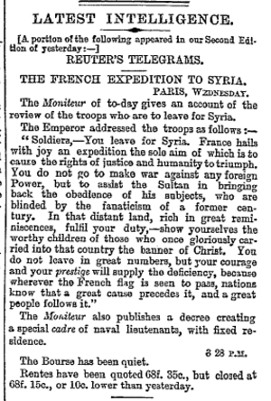 Humanitarian intervention - The 1860 French Expedition to intervene in the Druze–Maronite conflict was described by The Times as stemming from humanitarian motives.