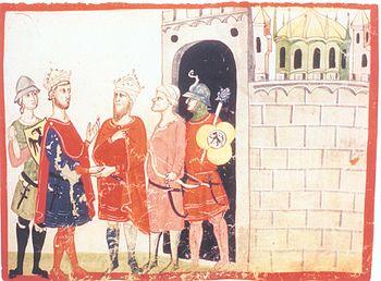 Sultan al-Kamil hands over the city of Jerusalem to Frederick II (left), recognizable by the dome of the Dome of the Rock on the right.  (Giovanni Villani, Chronica, 14th century, Biblioteca Apostolica Vaticana, Rome Cod.Chigi L VIII 296, fol.75r.)
