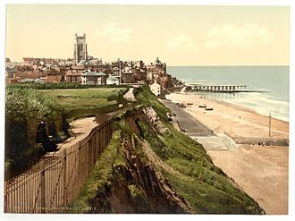 Cromer - A late 19th-century postcard of the view from the East Cliff