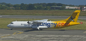 Aurigny - An Aurigny ATR 72 taxiing at Guernsey Airport in May 2009