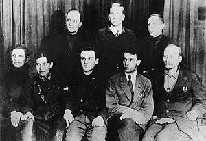 Soviet rocketry - Members of GIRD. Left to right: standing I.P. Fortikov, Yu A Pobedonostsev, Zabotin; sitting: A. Levitsky, Nadezhda Sumarokova, Sergei Korolev, B.I. Charanovsky, Friedrich Zander.