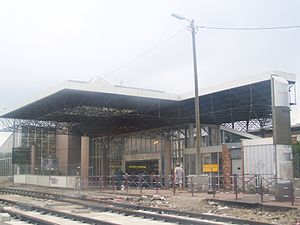 Gare de Vénissieux - Gare de Vénissieux during road works prior to the opening of tram line 4