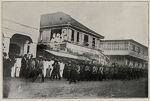 Martín Teófilo Delgado - Filipino freedom fighter Gen. Martín Teófilo Delgado marching into Jaro (Iloilo) on 2. Feb. 1901 ahead of 30 officers and 140 men to surrender to Brig. Gen. Robert P. Hughes, regional commander of the US imperialist forces occupying the country.