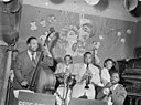 Gene Sedric, Danny Settle, Slick Jones, Mary Lou Williams, and Lincoln Mills, The Place, New York, N.Y., ca. July 1946 (William P. Gottlieb).jpg