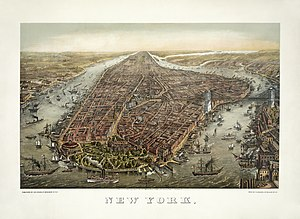 History of New York City - Bird's eye panoramic view print of Manhattan in 1873, looking north. The Hudson River is on the west to the left. The Brooklyn Bridge (to the right) across the East River was under construction from 1870 until 1883.