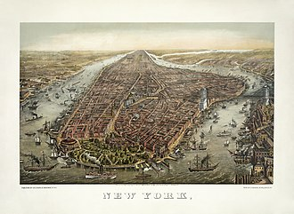 Manhattan - Manhattan in 1873. The Brooklyn Bridge was under construction from 1870 until 1883