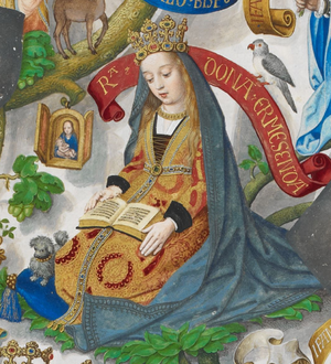 Ermesinda of Bigorre - A depiction of Queen Ermesinda with a book