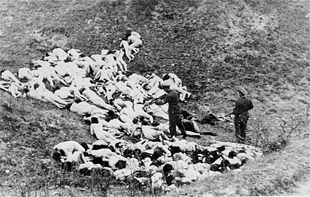 German police shooting women and children from the Mizocz Ghetto, 14 October 1942 Einsatzgruppe shooting.jpg