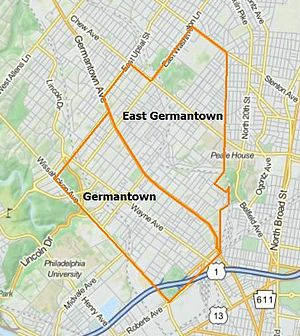 Germantown, Philadelphia - Modern borders of Germantown and East Germantown, Philadelphia