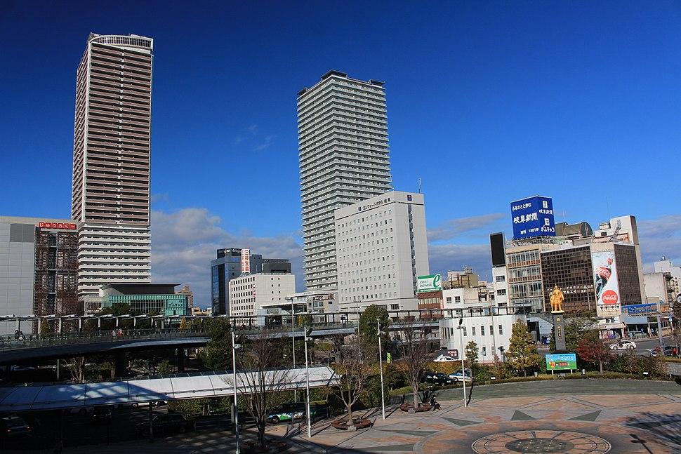 Gifu City Tower 43 and Gifu Sky Wing 37 from Gifu Station