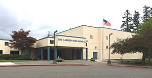 Gig Harbor High School - Gig Harbor High School, main entry. September 2015