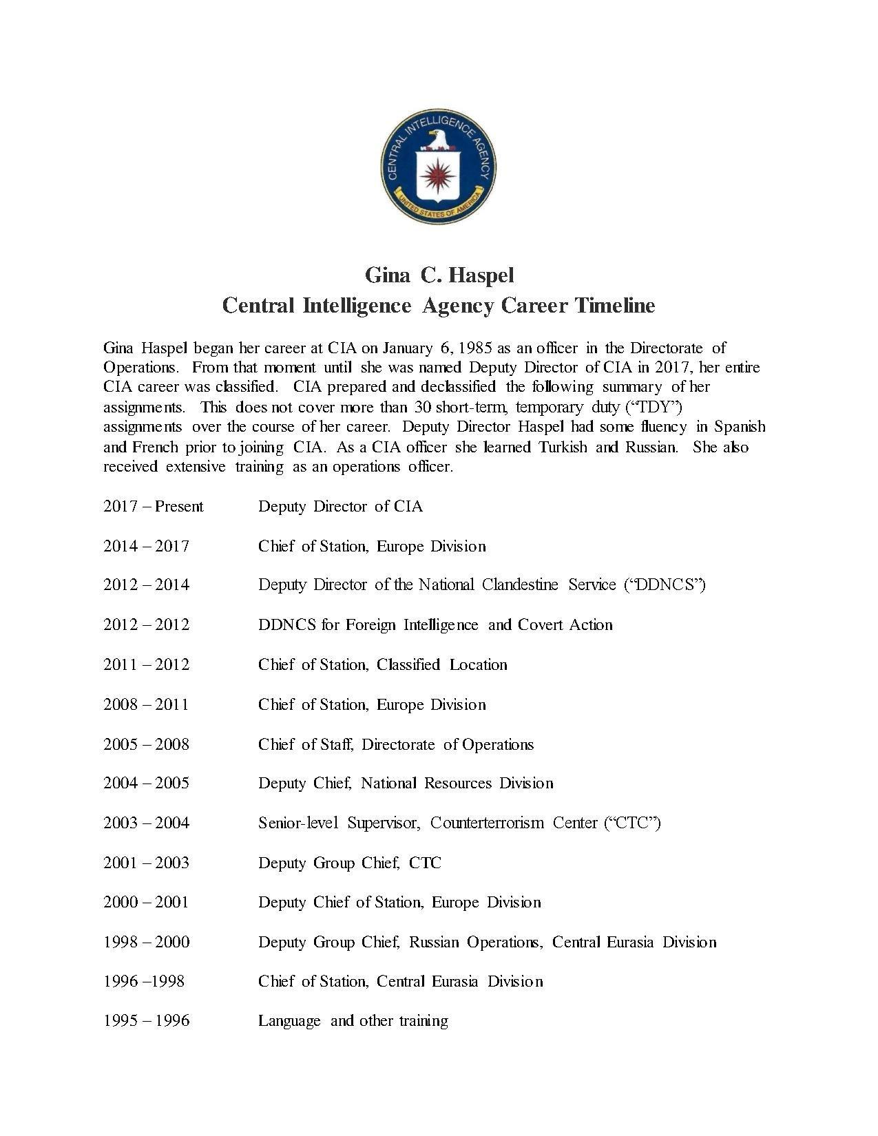 ملف:Gina C  Haspel - CIA Career Timeline, 1 May 2018 pdf