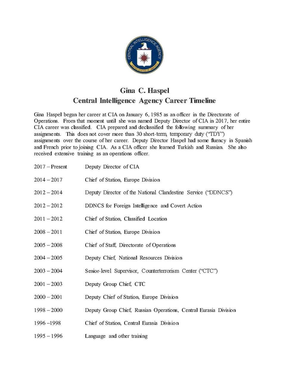 Gina C. Haspel - CIA Career Timeline, 1 May 2018.pdf