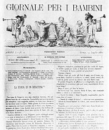 Prima pagina del Giornale per i bambini con il terzo capitolo de Le avventure di Pinocchio (14 luglio 1881)