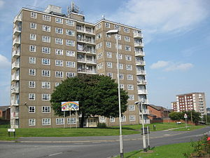 Gipton - Gipton Gate West and other tower blocks on Oak Tree Drive