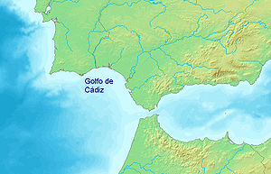 Gulf of Cádiz - Map showing the Gulf of Cádiz.