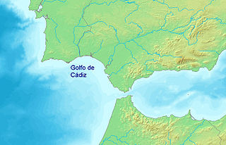 Gulf of Cádiz arm of the Atlantic Ocean off Spain and Portugal