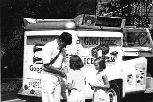 Good Humor - Good Humor vendor with a conventional sales car, Point Pleasant, New Jersey, 1966.