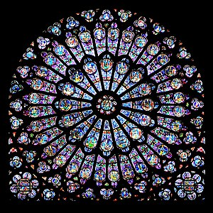 Plasmon - Gothic stained glass rose window of Notre-Dame de Paris. The colors were achieved by colloids of gold nano-particles.